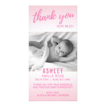 Modern Thank You Baby Shower Girl Pink | Add PHOTO Card
