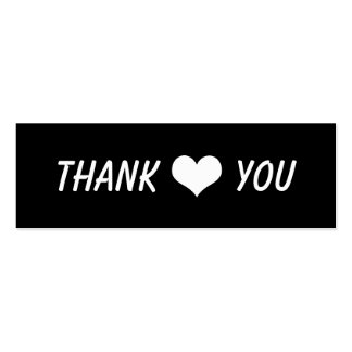 Modern Thank You Bold Text And Heart Wedding Double-Sided Mini Business Cards (Pack Of 20)