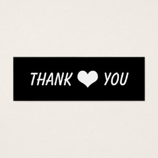 Modern Thank You Bold Text And Heart Wedding Mini Business Card