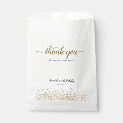 Modern Thank You For Coming Gold Confetti Birthday Favor Bag