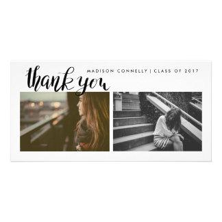 Modern Thank You Handwritten Graduate Photo Card