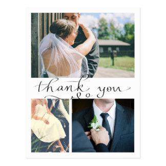 Modern Thank You Handwritten Three Wedding Photos Postcard