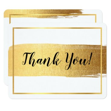 Professional Business MODERN THANK YOU luxe chic gold brush stroke Card
