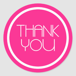 Modern Thank You Stickers (Hot Pink / White)