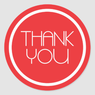Modern Thank You Stickers (Red / White)