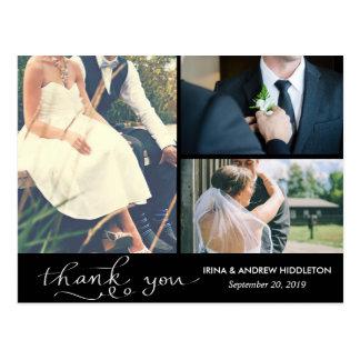 Modern Thank You White Script Three Wedding Photos Postcard
