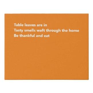 Modern Thankful Haiku Minimal Orange Thanksgiving Faux Canvas Print