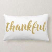 Modern Thankful In Gold Thanksgiving Decorative Lumbar Pillow