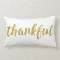 Modern Thankful In Gold Thanksgiving Decorative Lumbar Pillow