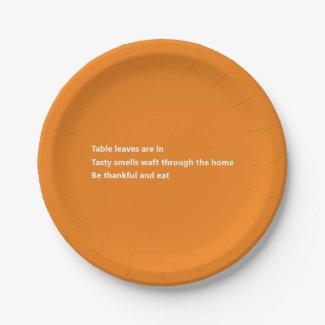 Modern Thankful Poem Minimal Orange Thanksgiving Paper Plate