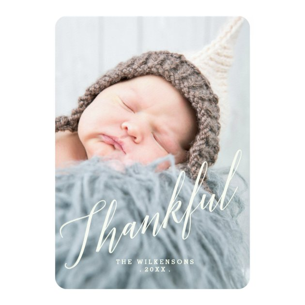 Modern Thankful Thanksgiving Photo Card