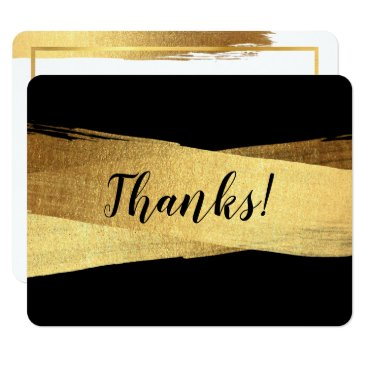 Professional Business MODERN THANKS luxe chic gold brush stroke Card
