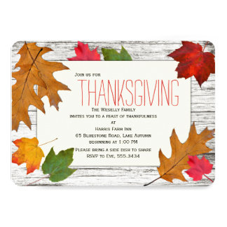 Modern Thanksgiving Dinner Leaves Wood Invitation