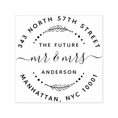 Modern The Future Mr  Mrs Wedding Return Address Self_inking Stamp
