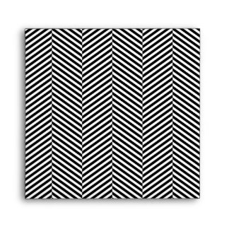 Modern Thin Black White Chevron Stripes Pattern Envelope