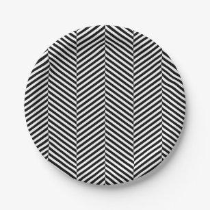 Modern Thin Black White Chevron Stripes Pattern Paper Plate  sc 1 st  Zazzle & Black And White Chevron Plates   Zazzle