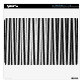 Modern Thin Black White Chevron Stripes Pattern Skin For The MacBook Air