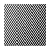 Modern Thin Black White Chevron Stripes Pattern Tile