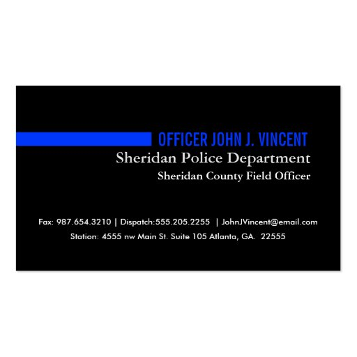 Modern thin blue line police business card zazzle for Police business card