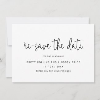 Modern Thin Script Typography Re-Save the Date Announcement