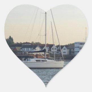 Modern Thirty Foot Yacht Heart Sticker