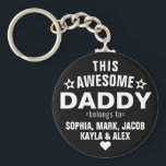 """Modern This Awesome Daddy Belongs To Father's Day Keychain<br><div class=""""desc"""">Personalized This Awesome Daddy Belongs To Star Father's Day Keychain Personalize it with the names of your kids.</div>"""