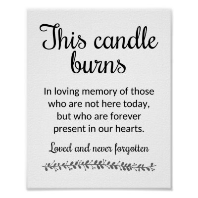 This Candle Burns In Memory Of Wedding Sign | Zazzle com