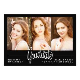 Modern Three Photo Graduation Party Invitation by kat_parrella at Zazzle