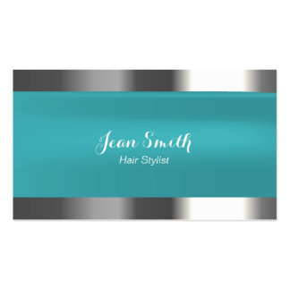 Modern Tiffany Blue Metal Border Hair Stylist Business Card