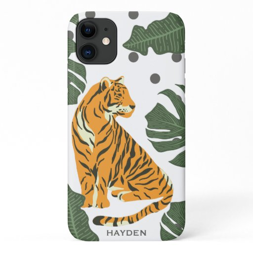 Modern Tiger and Jungle Leaves Art iPhone 11 Case