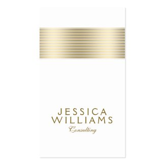 Modern Tin Gold Stripe Accent On White Double-Sided Standard Business Cards (Pack Of 100)