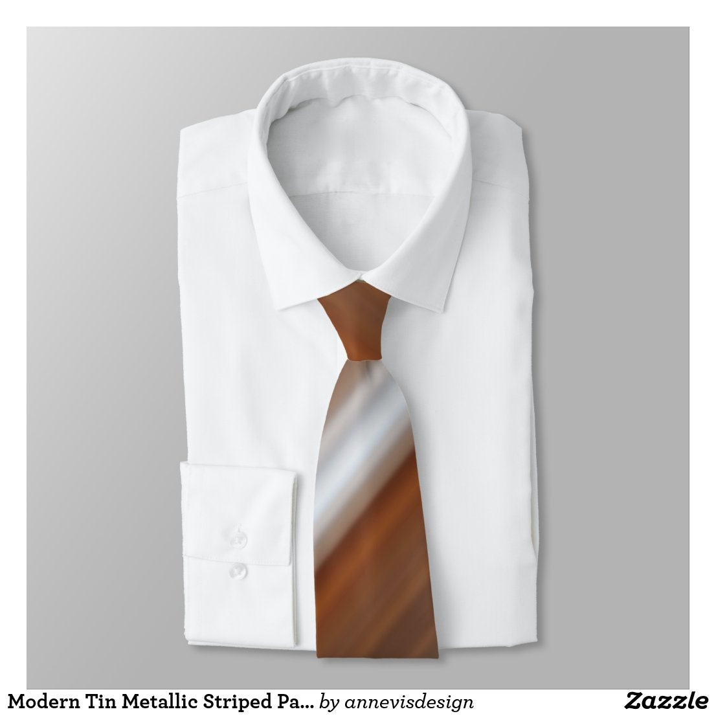 Modern Tin Metallic Striped Pattern Designer Tie