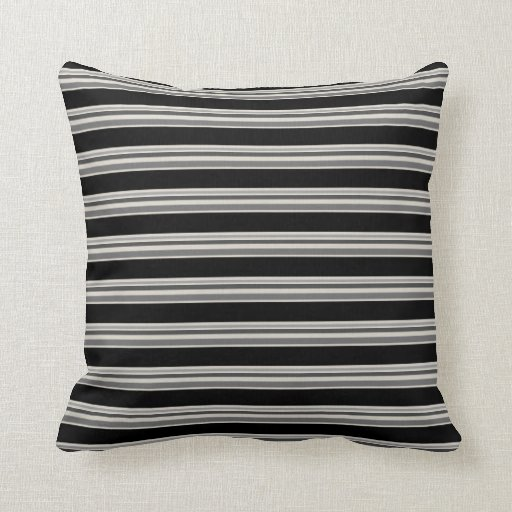 Black And Beige Throw Pillows : Modern tones of Black and Gray stripes on Beige Throw Pillow Zazzle
