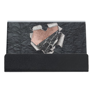 Modern Torn Paper Heart and Rose Gold Marble Desk Business Card Holder