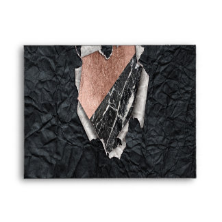 Modern Torn Paper Heart and Rose Gold Marble Envelope