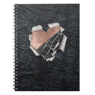 Modern Torn Paper Heart and Rose Gold Marble Notebook