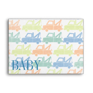 Modern Tow Truck Baby Boy Shower Invitations Envelope