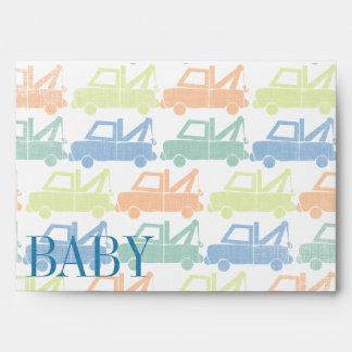 Modern Tow Truck Baby Boy Shower Invitations Envelopes