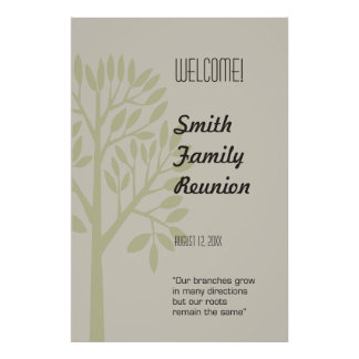 Modern Tree Family Reunion Welcome Sign Poster