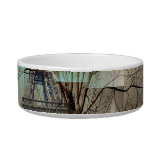 modern tree landscape paris eiffel tower pet food bowl