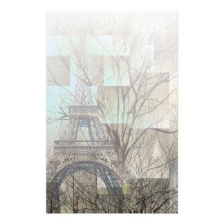 modern tree landscape paris eiffel tower personalized stationery