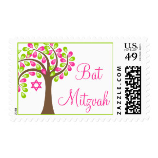 Modern Tree of Life Pink Green Bat Mitzvah Stamps