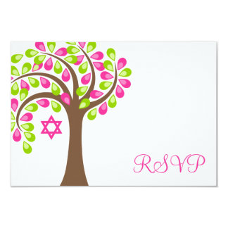 Modern Tree of Life Pink Green Bat Mitzvah RSVP 3.5x5 Paper Invitation Card