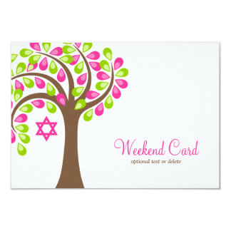 Modern Tree of Life Pink Green Card