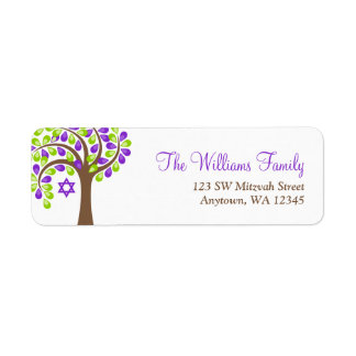 Modern Tree of Life Purple Green Bat Mitzvah Label
