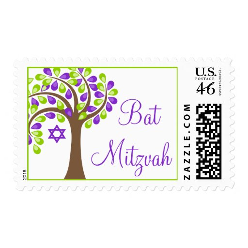 Modern Tree of Life Purple Green Bat Mitzvah Postage Stamp