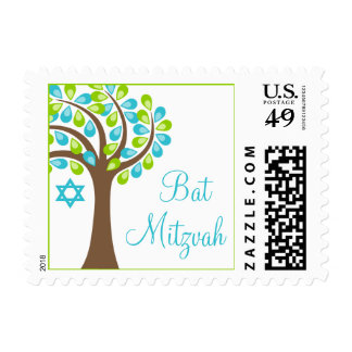 Modern Tree of Life Teal Blue Green Bat Mitzvah Postage