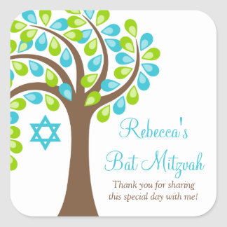 Modern Tree of Life Teal Blue Green Bat Mitzvah Square Sticker