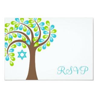 Modern Tree of Life Teal Green Bat Mitzvah RSVP 3.5x5 Paper Invitation Card