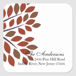 Modern Tree Return Address Wedding Square Sticker